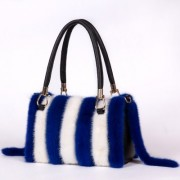 Real Mink Fur+Genuine Leather Women Shoulder Bag Tote Warm Handbags for Girls Ladies