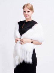 White Knitted Fox Fur Shawl with Fringes