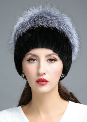 Fashionable Knitted Mink Fur Hat Decorated with Silver Fox Fur