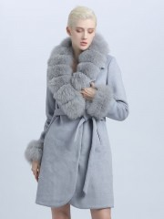 Women New Style Cashmere Wool Winter Coat with Fur Collar