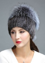 Women Knitted Mink Fur Hat Decorated with Silver Fox Fur