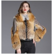 Women Leather Jacket with Real Mink Fur Red Fox Fur