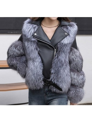 Real Leather Jacket Decorated with Silver Fox Fur