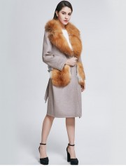 Real Wool Overcoat Decorated with Fox Fur