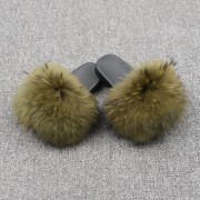 Womens Real Raccoon Fur Slides Extra Fluffy Slippers Furry Slides Multicolor