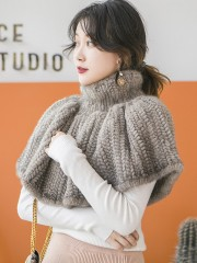 Real Knitted Mink Fur Bolero Stole Poncho Cape Mink Shawl Wrap