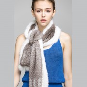 Real Knitted Mink Fur Scarf Muffler Shawl Stole Wrap