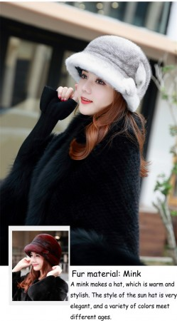 Women's 100% Fur Hat Mink Fur Hat Flower Pattern