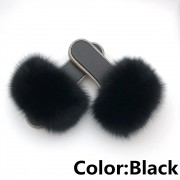 Glitter Black Sole Fox Fur slides Raccoon Fur Slippers Women