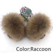 Dazzle Color Sole Fox Raccoon Fur Slides Fluffy Slippers
